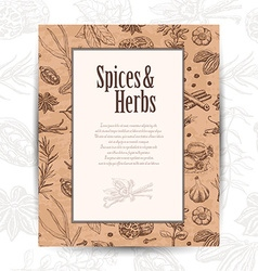 Card with spices and place for your text vector