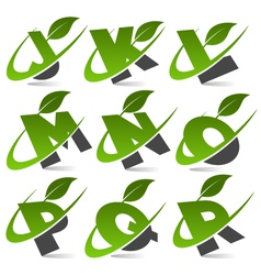Swoosh green alphabet logo set2 vector