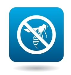 No bee sign icon simple style vector
