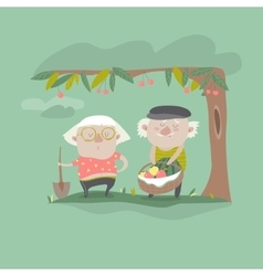 Adult gardener family vector