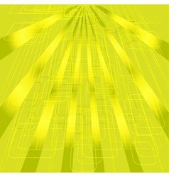 Abstract technical yellow background with rays vec vector image