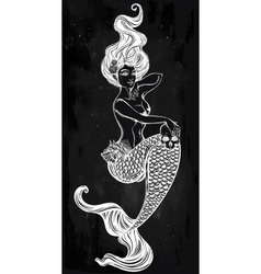 Beautiful mermaid outline vector image