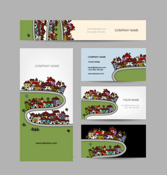 Business cards design green village vector