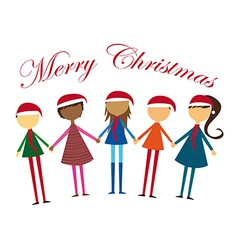 childrens holding hands with hat christmas vector image vector image