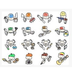 doodle icons of professions vector image