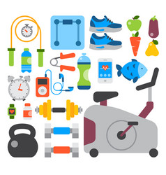 flat icons set of fitness sport and healthy vector image