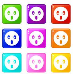 Frightened emoticons 9 set vector