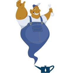 Genie mechanic coming out of an oil can vector