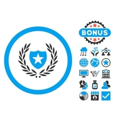 Glory shield flat icon with bonus vector