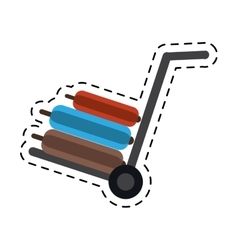 Hand cart suitcases luggage travel equipment vector