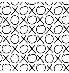 Hand draw seamless pattern of cross and zero signs vector