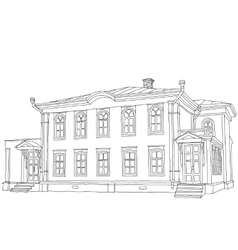 House sketch two-storey wooden house ulyanov lenin vector