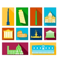 Landmarks of italy icons set vector