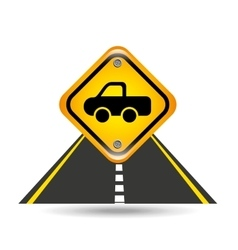 pick up truck yellow road street sign vector image