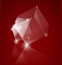 Red glass cube background vector