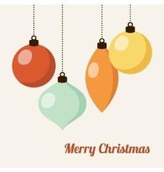Retro christmas card with christmas balls vector