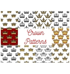 Royal crowns seamless patterns vector