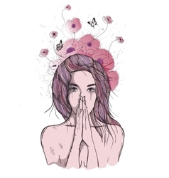 Sad woman prays vector