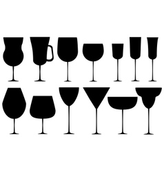 Set of black alcoholic glass vector image vector image