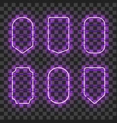 Set of realistic glowing purple neon frames vector