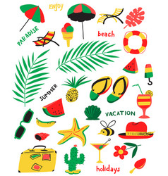 Set with summer beach objects with vector