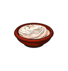 Sketch sour cream in ceramic brown pot vector
