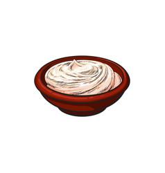 sketch sour cream in ceramic brown pot vector image