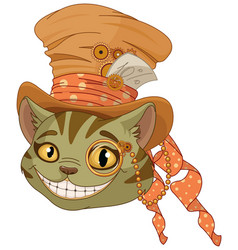 steampunk cheshire cat in top hat vector image