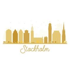 Stockholm city skyline golden silhouette vector