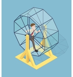 Stressed businessman running in the rat wheel vector image