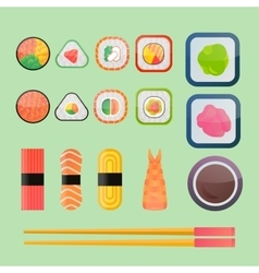 Sushi flat icons set vector image