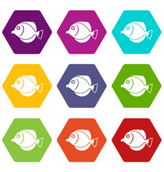 Tang fish zebrasoma flavescens icon set color vector
