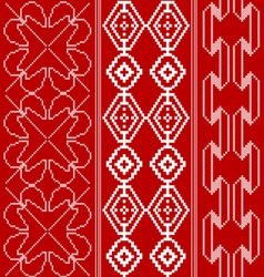 Traditional red and white pattern vector image vector image