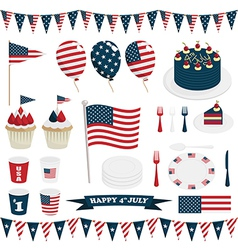 usa party decorations vector image vector image