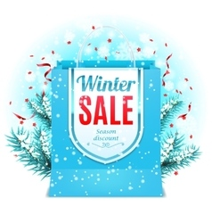 Winter Sale Shopping Bag vector image
