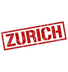 Zurich red square stamp vector