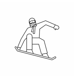 Snowboarder icon outline style vector