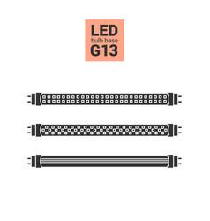Led light g13 bulbs silhouette icon set vector
