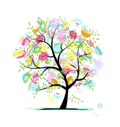 Sketch of floral tree for your design vector image