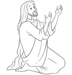 jesus kneeling in prayer coloring page vector image