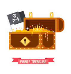 Pirate treasure chest and jolly roger flag vector