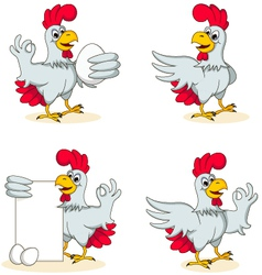 hens cartoon collection vector image