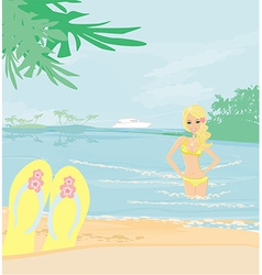 Girl on vacation vector
