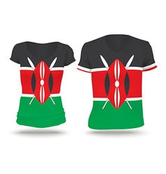 Flag shirt design of kenya vector