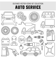 Outline set autoservice icons vector