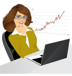 Woman sitting with a laptop in the office vector