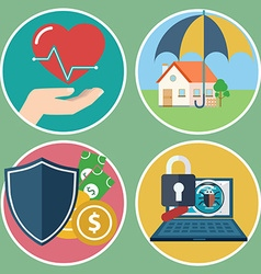 Insurance concept set for home insurance health vector image
