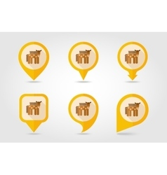 Horse flat mapping pin icon with long shadow vector
