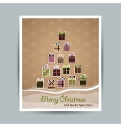 New year card with christmas tree of gifts vector