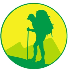 man with backpack vector image